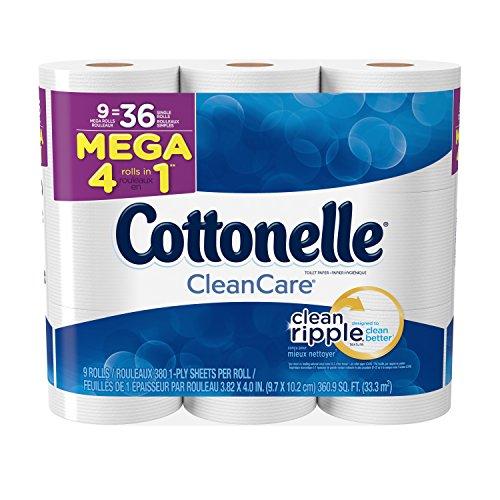Cottonelle Bath Tissue Cleancare Mega Roll Toilet Paper, 9 Count