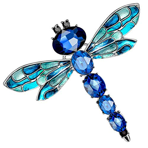 Stylebar Women Dragonfly Brooch Pins Sapphire Color Crystal Brooches Enamel Insect Dark Blue Broaches for Girls Summer Silver Tone