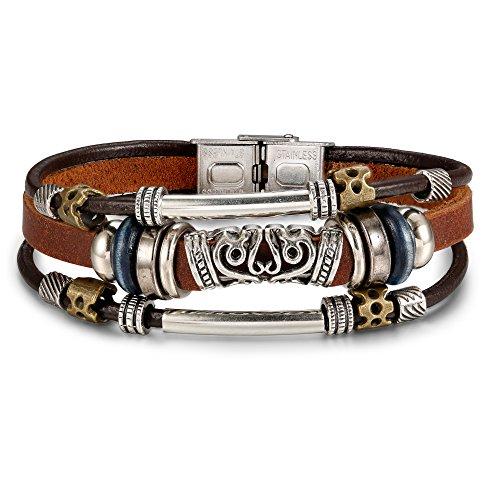 - Besteel Zen Leather Bracelet for Men Women Triple Strand Bracelet Multi-layer Wrap Bracelet Stainless Steel Clasp Brown, 7.5IN
