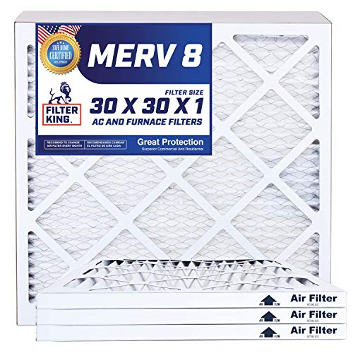 (Filter King 30x30x1 Air Filters | 4 Pack | MERV 8 HVAC Pleated AC Furnace Filters, Protection Against Mold and Pollen, Allergen Reduction, Increases Air Quality | Actual Size 29.5x29.5x1)