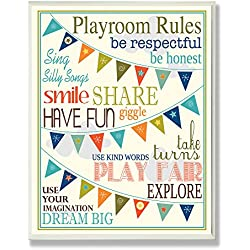 Stupell Home Décor Playroom Rules With Pennants In Blue Rectangle Wall Plaque, 10.25 x 0.5 x 14.75, Proudly Made in USA