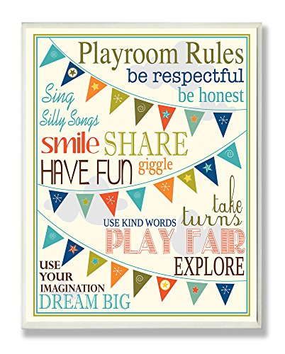 Stupell Home Décor Playroom Rules With Pennants In Blue Rectangle Wall Plaque, 10.25 x 0.5 x 14.75, Proudly Made in USA by The Kids Room by Stupell