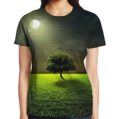 FASHION N WORLD Womens Mysterious Moon Tree Classic Tshirt Short Sleeve Gym - Shopping Casuarina