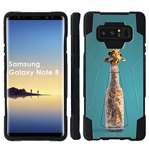 [Mobiflare] Dual Layer Armor Case [Kickstand] for Samsung Galaxy Note8 [Black/Black] Mil-Spec - [Giraffe in a Bottle]