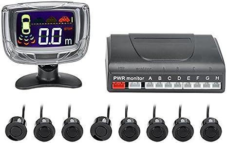 BW 8 Sistema de Aparcamiento, Sensor ultrasónico, Pantalla LCD de 2 Pulgadas, Alerta de Audio, Distancia de detección de 0,3 a 2,5 m