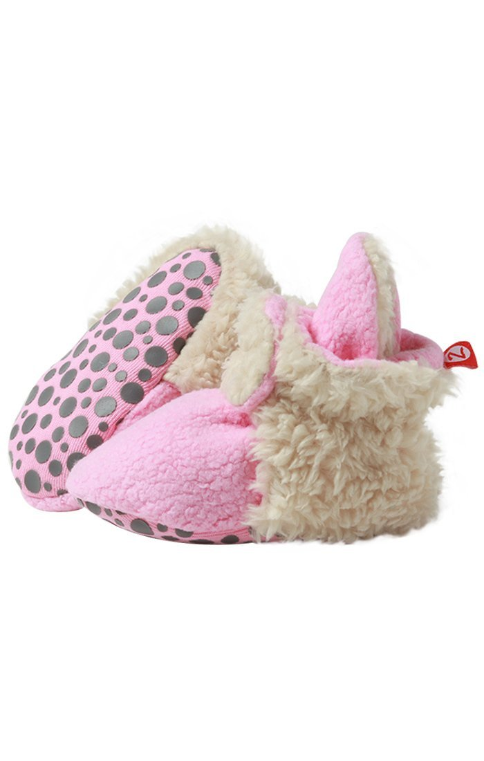 Zutano Cozie Fleece Baby Booties with Faux-Fur Lining and Grippers, Unisex, For Infants, Babies, and Toddlers, Hot Pink Furry, 12M-18M by Zutano
