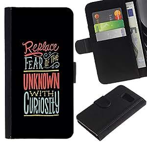 Samsung Galaxy S6 / SM-G920 , la tarjeta de Crédito Slots PU Funda de cuero Monedero caso cubierta de piel ( Unknown Black Pink Curiosity Inspiring)