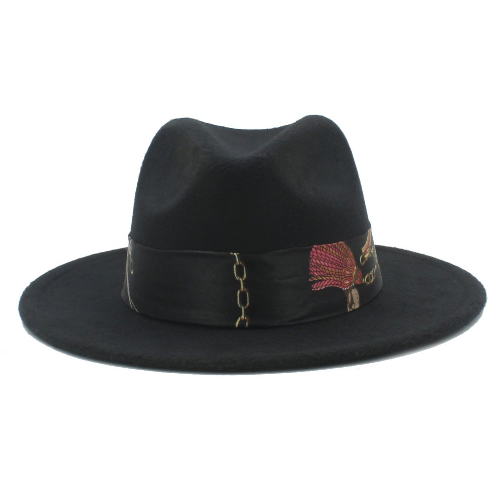 Elegdy Womens Wool Wide Brim Hat Fedora Hat with Cloche Ribbon Winter Autumn Wide Brim Jazz Church Keep Warm