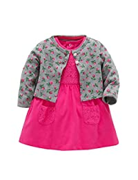 Gotd Toddler Infant Baby Girl Boy Floral Coat+Pocket Lace Dress Clothes Winter Long Sleeve Christmas Outfits (0-6 Months, Gray & Hot Pink)