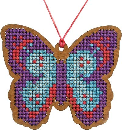- 3 Birds Cross Stitch Style Wood Laser Cut for Cross Stitch-Butterfly