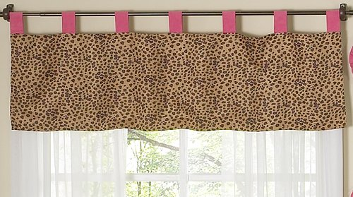 Sweet Jojo Designs Cheetah Girl Pink and Brown Window Valance