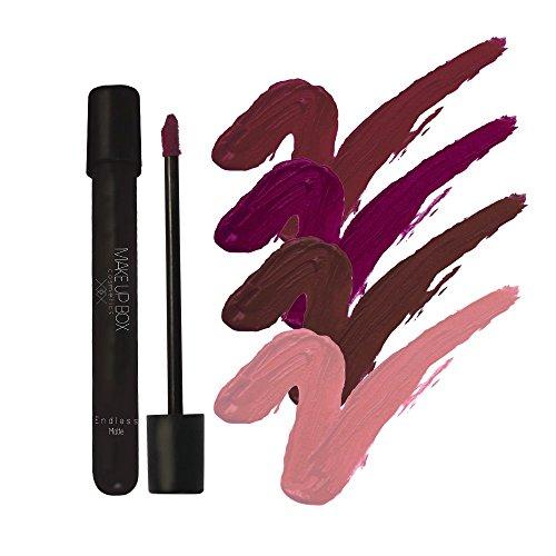 Makeupbox 4 Labiales Matte Larga Duración Glam Collection lip gloss endless Matte 12-horas Touch-proof libres de plomo,...