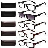 LianSan 5 Pairs Quality Rectangular Reading Glasses includes Sun Readers for Men Women