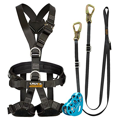 Fusion Climb Pro Backyard Zip Line Kit Harness Lanyard Trolley Bundle FK-A-HLT-09 by Fusion Climb