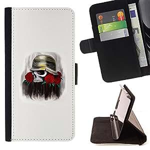 BullDog Case - FOR/Samsung Galaxy Note 4 IV / - / SOLIDER ROSE SKULL DEATH FLOWERS WAR /- Monedero de cuero de la PU Llevar cubierta de la caja con el ID Credit Card Slots Flip funda de cuer