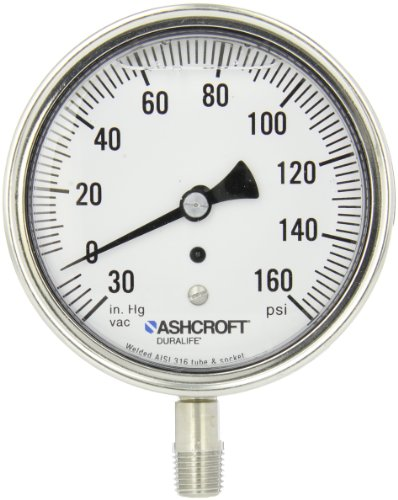 Ashcroft Duralife Type 1009 Stainless Steel Case Glycerin Filled Pressure Gauge, Stainless Steel Tube and Socket, 3.5' Dial Size, 1/4' NPT Lower Connection, 0/30' Hg Vac/0/160 psi Pressure Range