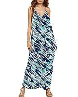 Auxo Women's Casual Boho Cover Up Spaghetti Strap Printed Loose Beach Long Maxi Dress