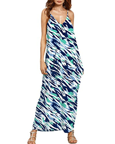Auxo Women Boho Maxi Dress Floral Sundress Printed V Neck Strappy Long Dresses Cover up