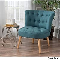 Donna Mid Century Fusion Dark Teal Button Tufted Fabric Chair