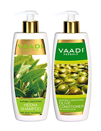 Vaadi Herbals Superbly Smoothing Heena Shampoo, 350ml with Olive Conditioner, 350ml
