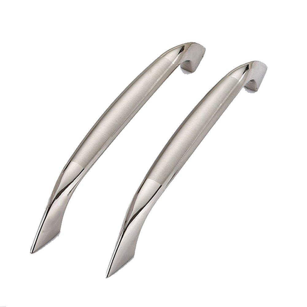 AMCEY Maniglie per porte da cucina in acciaio satinato da bar Semplice cassetto a doppio cassetto bianco per fori da 96 mm - confezione da 30 pezzi