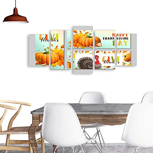 UHOO 5 Piece Wall Art Painting PrintThanksgiving Banners with Orange Pumpkins Turkey and Autumn Leaves Vector Illustrations. odern Decoration Living Room -