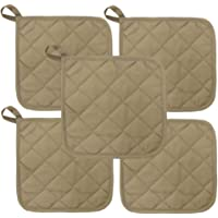 Beige Heat Resistant Pot Holders 6.5″ Square Solid Color (Pack of 10) | Multipurpose Quilted Hot Pads Pot Holders For Everyday Quality Kitchen Cooking Chef Linens (Tan)