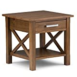 Simpli Home Kitchener Solid Wood End Side Table, Medium Saddle Brown