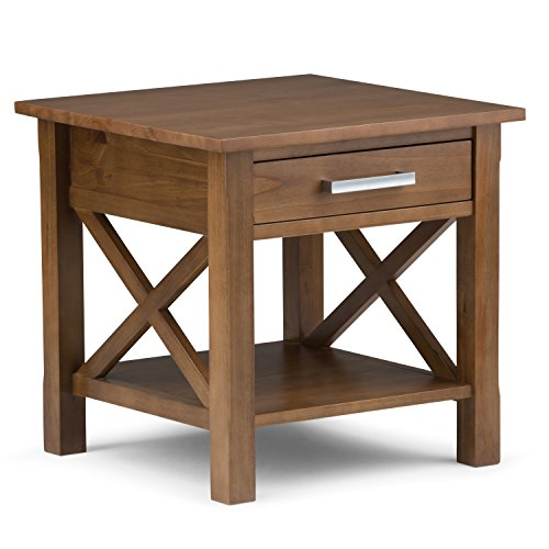 Simpli Home 3AXCRGL002-SB Kitchener Solid Wood 21 inch wide Square Contemporary End Side Table in Medium Saddle Brown