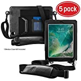 rooCASE 5-Pack Utility Sleeve Case with Breakaway Safety Carrying Strap for OtterBox Defender Series iPad 2/3/4 Case, Black