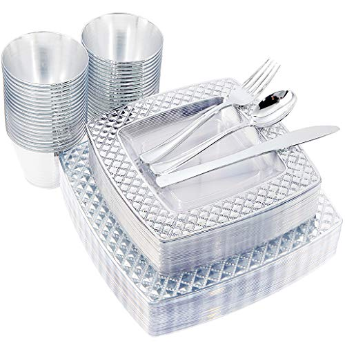 NERVURE 150PCS Clear with Silver Square Plastic Plates & Silverware Set:25 Dinner Plates 9.5