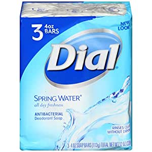 Dial Antibacterial Deodorant Bar Soap, Spring Water, 4 Ounce Bars, 3 Count
