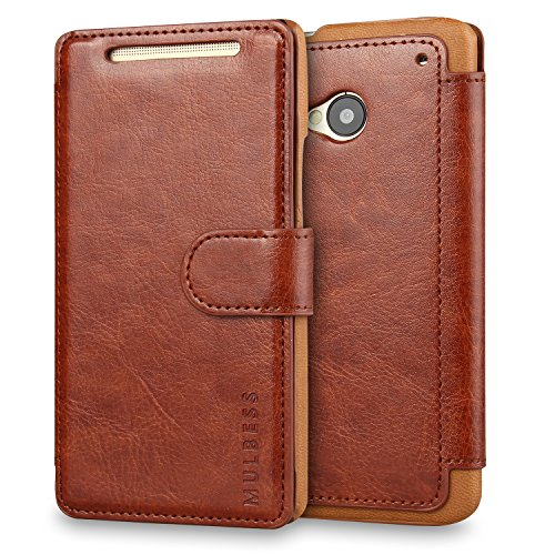 M7 Case,HTC One M7 Case Wallet,Mulbess [Layered Dandy][Vintage Series][Coffee Brown] - [Ultra Slim][Wallet Case] - Leather Flip Cover with Credit Card Slot for HTC One M7 (Htc One M8 Wallet Case Strap)