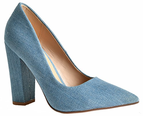 Lust Have Women's Pauline Pointed Pointy Toe Chunky Wrapped High Heel Dress Pumps Light Denim 7.5