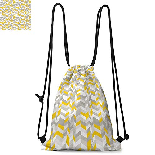 Grey and Yellow Made of polyester fabric Geometric Vintage 60s Home Pattern Inspired Herringbone Zig Zag Lines Waterproof drawstring backpack W13.8 x L17.7 Inch Grey Yellow ()