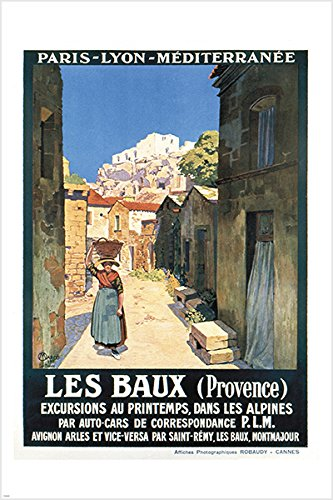 vintage french tourism poster Les Baux Provence charming old town
