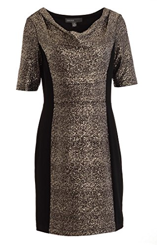 Donna Ricco Women's Crepe With Pebble Foil Drape Neck Cocktail Dress 6 Black Gold