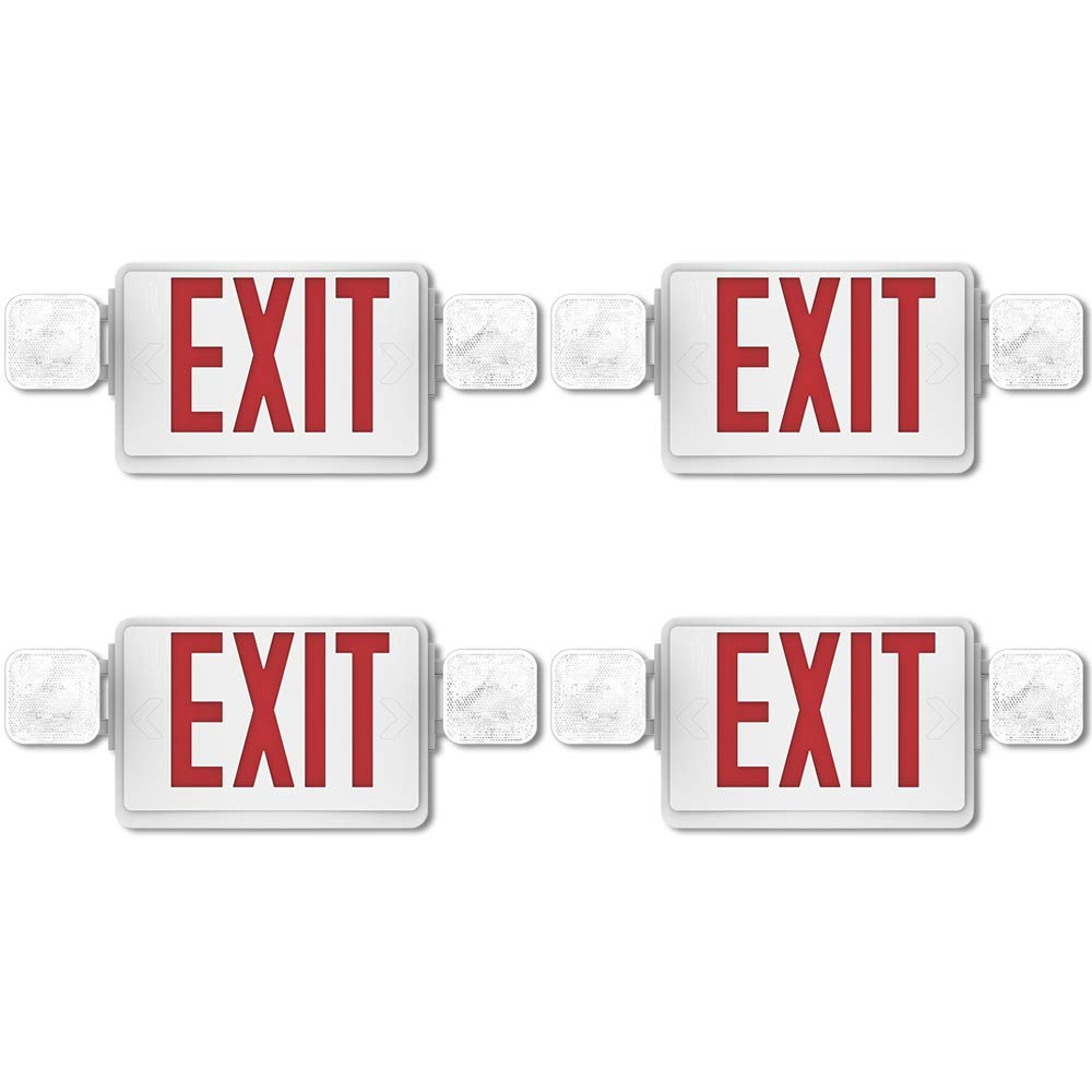 Sunco Lighting 4 Pack Emergency Single Double Sided EXIT Sign LED Light Fixture With Dual Head Lights Plus Back Up Battery Pack Commercial Fire Resistant US Standard Red Letter UL Listed