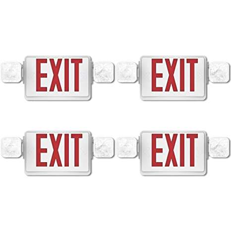 Sunco Lighting 4 Pack Double Sided LED Emergency EXIT Sign, Two LED Flood Lights, Backup Battery, US Standard Red Letter Emergency Exit Lighting, ...