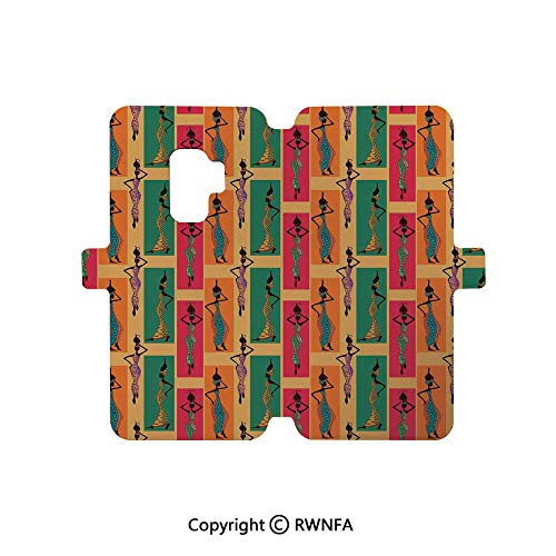 Samsung S9 Case,Ethnic Woman with Exotic Feather Earring and Scarf Zulu Hippie Artwork Galaxy S9 Flip Case Wallet Leather [Kickstand] Magnetic Protective Cover,Caramel Merigold