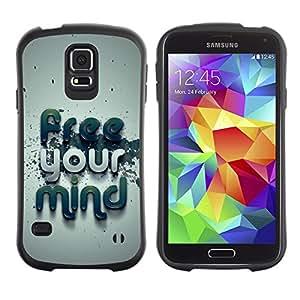Suave TPU Caso Carcasa de Caucho Funda para Samsung Galaxy S5 SM-G900 / Free Your Mind Typography / STRONG