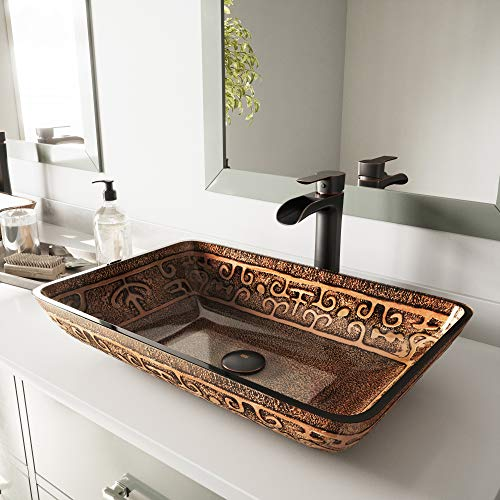 - VIGO Rectangular Golden Greek Glass Vessel Bathroom Sink and Niko Vessel Faucet with Pop Up, Antique Rubbed Bronze
