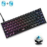 LexonElec@ Wireless and Wired Gaming Keyboard Ajazz AK33 Bluetooth 2.4 GHz RGB LED Backlit 82 Keys Mechanical Pro Gamer Keypad Built in 2300mA Rechargeable Battery (Blue Switch, Black & Wireless)