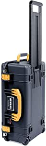 Black Pelican 1535 Air case with Yellow Handle & latches. No Foam - Empty.