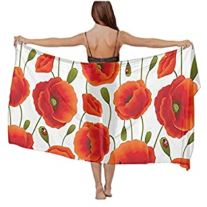 Lightweight Floral Pattern Of Poppy Flowers Shawl and Wrap for Women