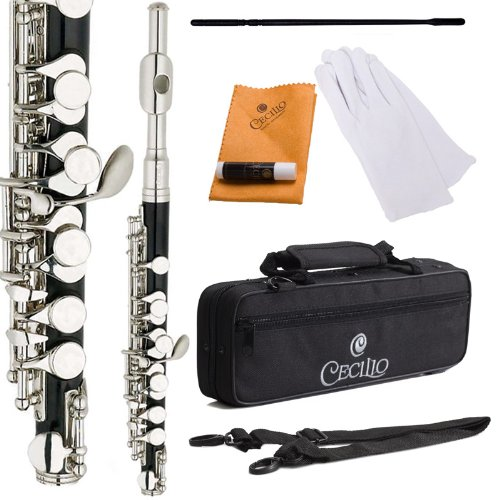 Cecilio Black Ebonite Key of C Piccolo with Nickel Plated Keys - PO-280N