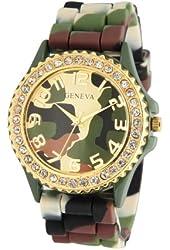 Geneva Silicone Ceramic Style Green Camouflage Band Watch La