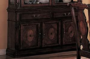 Server Sideboard with Carved Detail Brown Finish