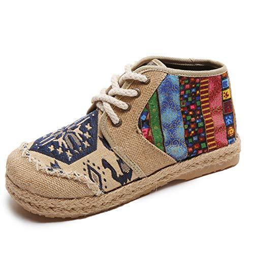 GUNAINDMX Bordar los Zapatos Botines de Mujer Botas Planas de otoño Zapatos cómodos con Cordones de Tela Planos Blue