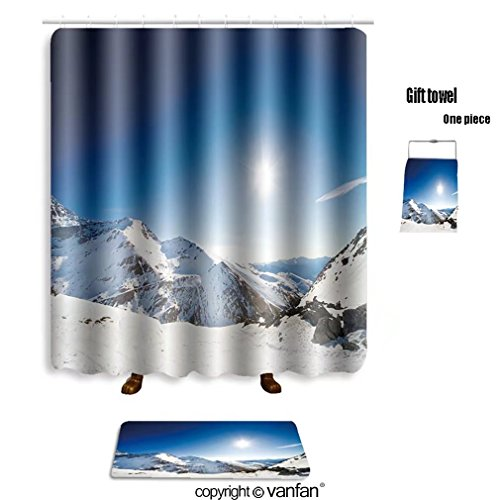 vanfan bath sets with Polyester rugs and shower curtain alpine landscape of snow covered mountains an shower curtains sets bathroom 36 x 72 inches&23.6 x 15.7 inches(Free 1 towel and 12 hooks)